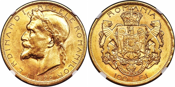 1922 Romania Ferdinand I Gold 100 Lei, London mint