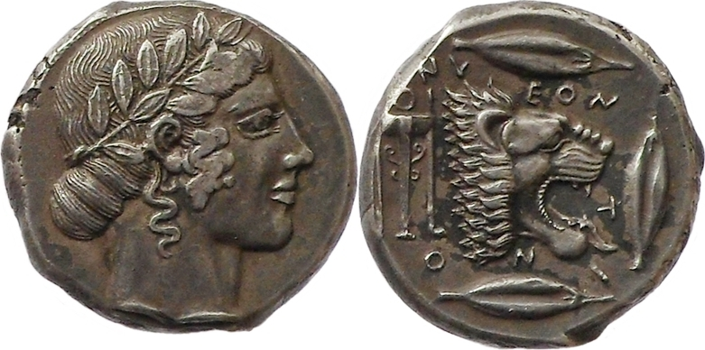tetradrachm Ca. 460-450 BC Ancient Greece Sicily, Leontini