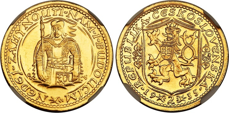 1935 Czechoslovakia Republic Gold 2 Dukaten