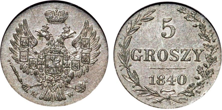 5 Groszy 1840 MW Russia Imperial Russia. Coinage for Poland.