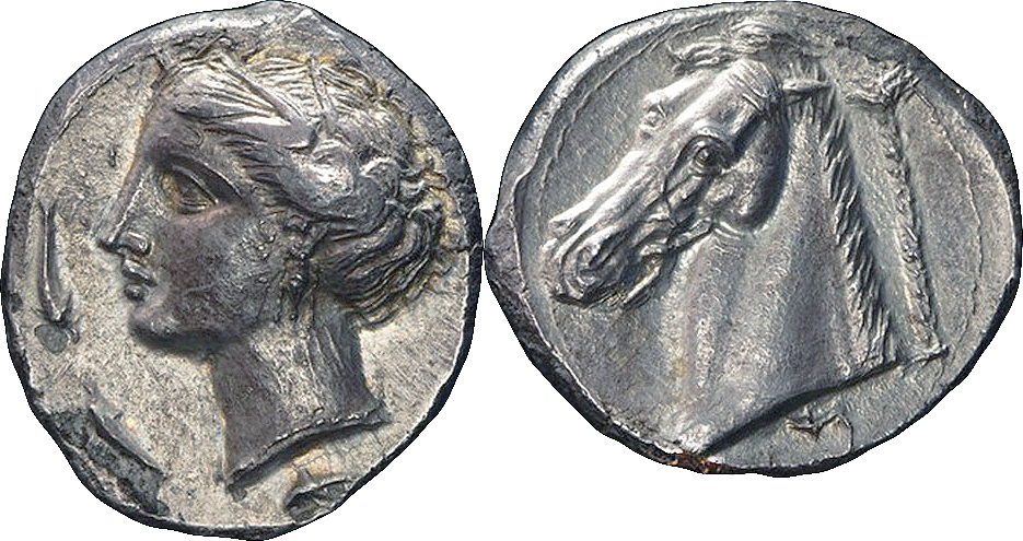 c.320-310 BC Sicily Punic legend below horse head
